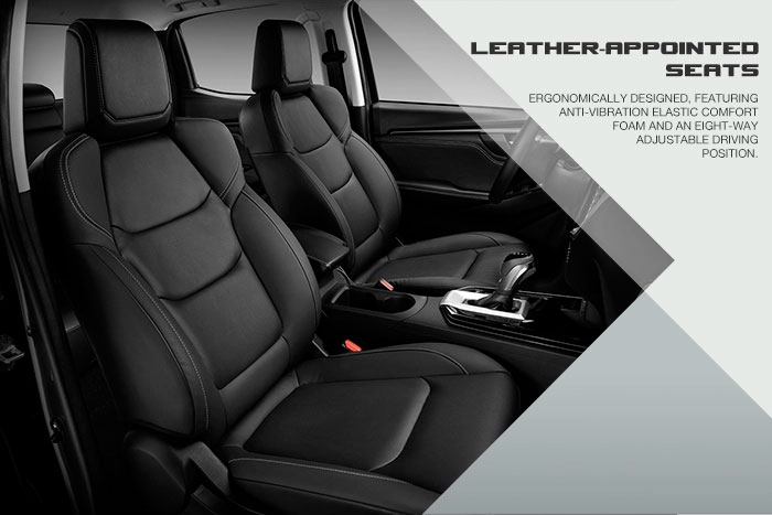 Ergonomically designed, featuring anti-vibration elastic comfort foam and an eight-way adjustable driving position.