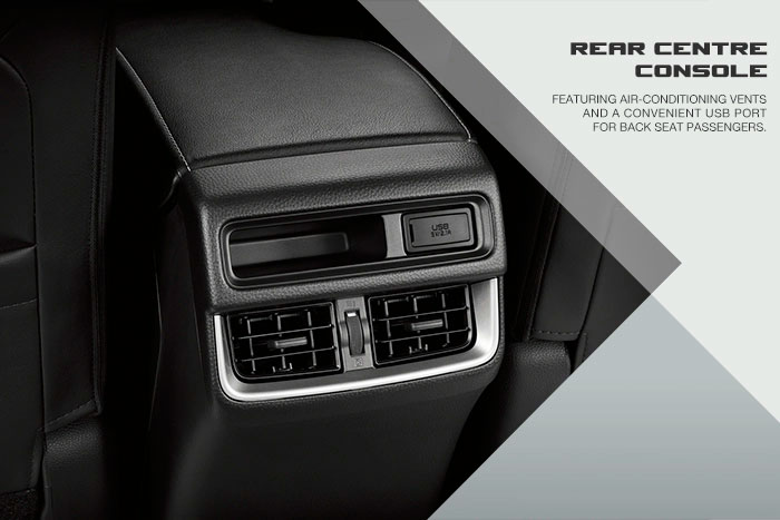 Featuring air-conditioning vents and a convenient USB port for back seat passengers.