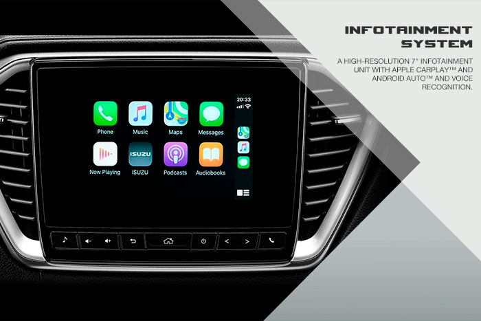 """A High- Resolution 7"""" Infotainment unit with Apple CarPlay and Android Auto and voice recognition."""