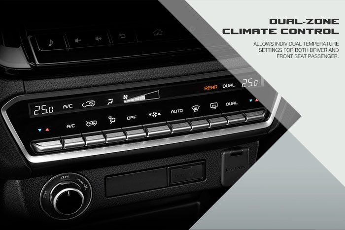 Allows individual temperature setting for both driver and front seat passenger.