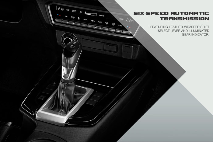 Featuring leather-wrapped shift select lever and illuminated gear indicator.