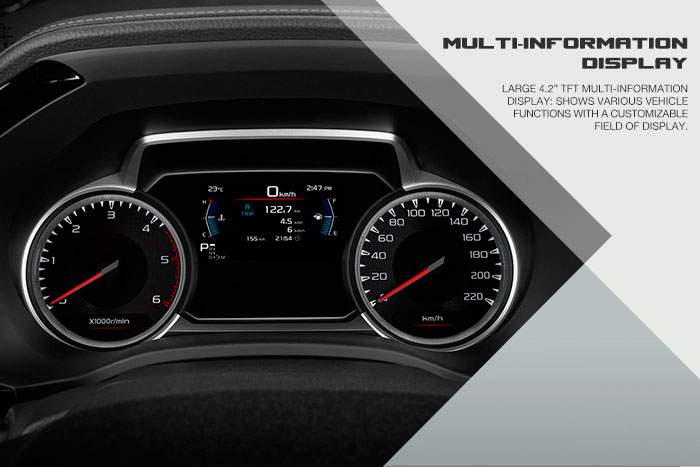 """Large 4.2"""" TFT multi-information display; Shows various vehicle functions with a customizable field of display."""