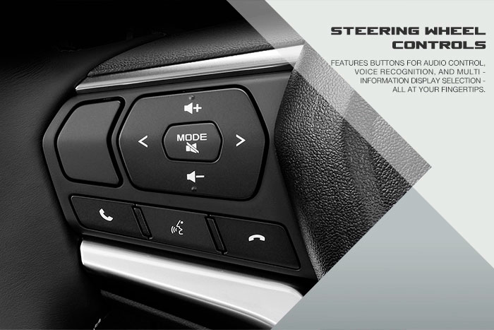 Features buttons for audio control, voice recognition, and multi-information display selection. All at your fingertips.