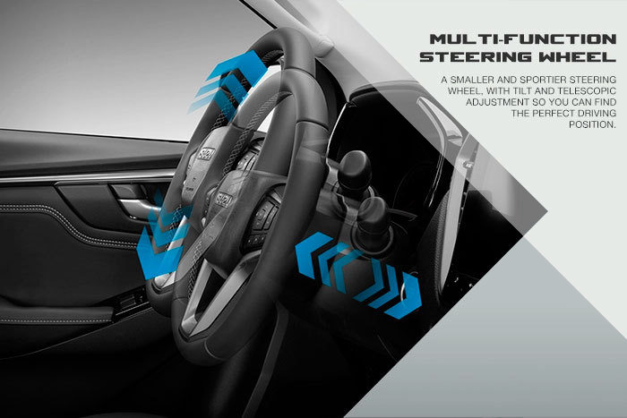 A smaller and sportier steering wheel, with tilt and telescopic adjustment, so you can find the perfect driving position.